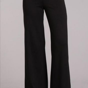 Wide Leg Ponte Pants in Black