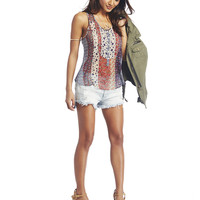 Mixed Print Button-Front Tank | Wet Seal