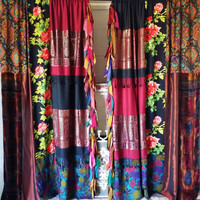 Boho Bohemian Curtains Drapes panels Hippy Hippie paisley vtg scarf scarves Wall Decor Gypsy bohemian Bedroom rose fall silk fringe velvet