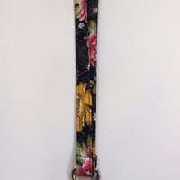 Floral Print Lanyard / Roses / Lanyard Keychain / Gold / Key Lanyard / ID Badge Holder / Pink / Black with Flowers