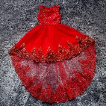 New Flower Girl Dresses with Bow Short Front Long Back Communion Party Pageant Dress for Wedding Girls Kids/Child Birthday Dress