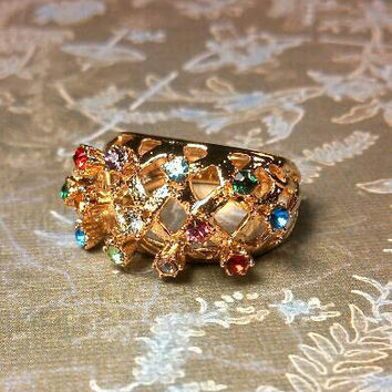 Fabulous multi color rhinestone 18k HGE HMS Madeira cluster ring. Stands high..pink, blue, green, clear, yellow, aqua rhinestones. Size 5