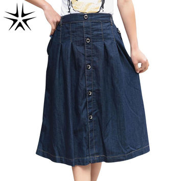 2016 NEW Autumn Korean Charming Lady Stretch DENIM Skirts LARGE Size M-3XL Loose Casual Women Long Jean Skirt