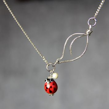 Ladybug leaf silver copper pendant necklace Free US Shipping handmade Anni designs