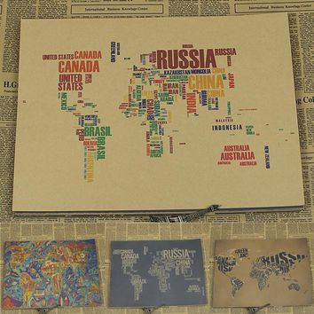 Vintage Paper Retro anime poster - Character world map -Posters cudi poster Vintage Home Wall sticker Decor 30*21CM