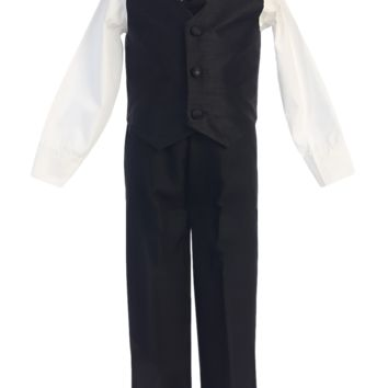 Black 4-pc Boys Vest & Pants Dresswear Set 6m-7