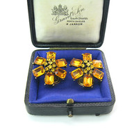 Topaz Rhinestone Earrings Golden Orange Flower Cluster Emerald Cut Petals Clip Ons Vintage 1960's Fashion Jewelry