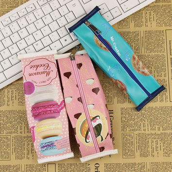 1 Pcs Creative Macaron Cracker Chocolate Pencil Case Cute PU Leather Pencil Bags Kawaii Stationery Office School Supplies
