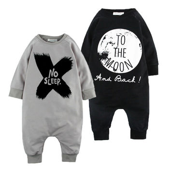Cotton Baby Girls Boys long sleeve Romper Jumpsuit One-pieces No Sleep to the Moon Outfits