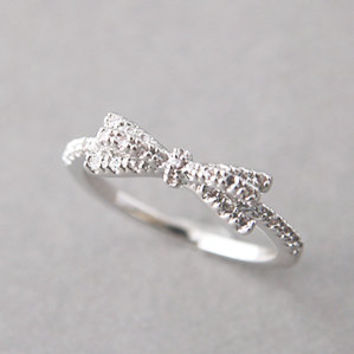 CUBIC ZIRCONIA SPACKLING RIBBON BOW RING WHITE GOLD BOW JEWELRY - Kellinsilver.com
