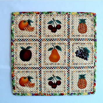 "Fruit - Quilted Table Topper - 11-1/4"" square"