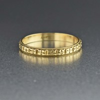 14K Gold Vintage Art Deco Wedding Band Ring 1930s