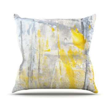 "CarolLynn Tice ""Abstraction"" Grey Yellow Outdoor Throw Pillow"
