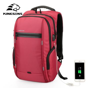 Kingsons Anti-theft Waterproof Men Women Backpack Bag 13.3,15.6,17.3 inch Laptop Computer Backpack External USB Charge 15 17