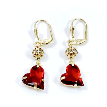 Cz Beads Heart Lever Back Gold Plated Earrings
