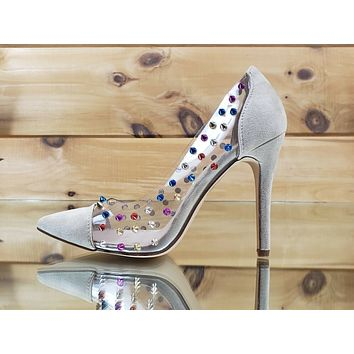 "Ricky Clear Nude Multi Color Spike Stud Pointy Toe Pump Shoe 4.5"" High Heels"