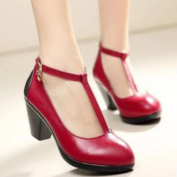 spring genuine leather vintage leather shoes shallow mouth female thick heel round toe T strap Pumps