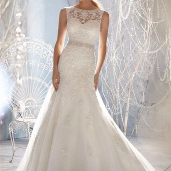 A Day of Magic Crystal Beaded A Line Wedding Dress