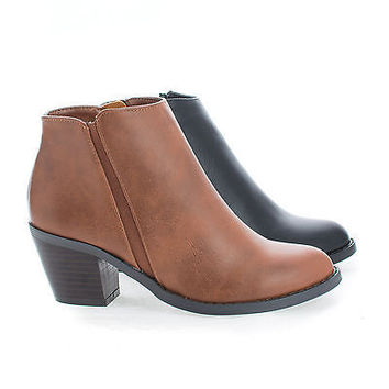 TevayIIH Tan Pu by Soda, Children's Girl Round Toe Chelsea Stacked Heel Ankle Boots