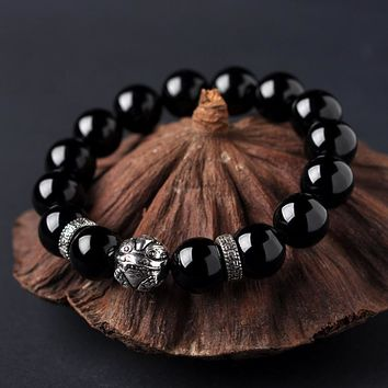 Black Tourmaline Bracelet Crystal Lap Bracelet Tourmaline Beads Fashion Women and Men Couples Models