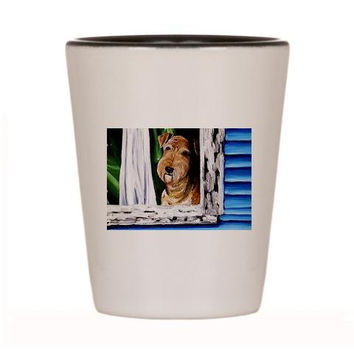 Airedale Shot Glass Terrier Ceramic cup of Original Dog Art Painting