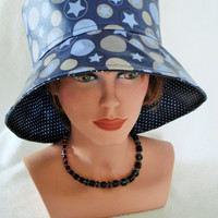Rainhat - Rain Hat - coated Cotton - blue Stars Polkadots multicolor - WomansHat