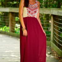 Native Lace Maxi, Maroon