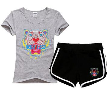 One-nice™ KENZO Women Men Fashion Print Cotton Sport Shirt Shorts Set Two-Piece Sportswear