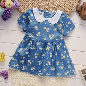 0-4 Years Summer Floral Jeans Dress Baby Pure Cotton Short-Sleeved Denim Children Big Bow Casual