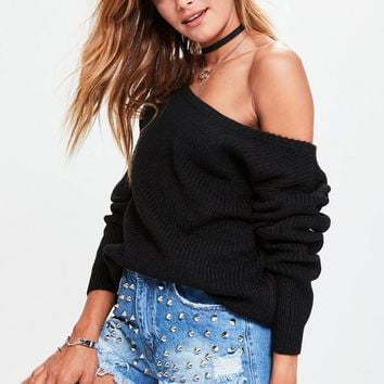 Missguided - Black Off Shoulder Knitted Sweater