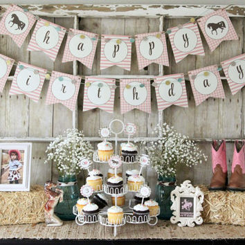 Cowgirl/Pony Birthday Printable Pink and Brown Gingham Birthday Party Collection