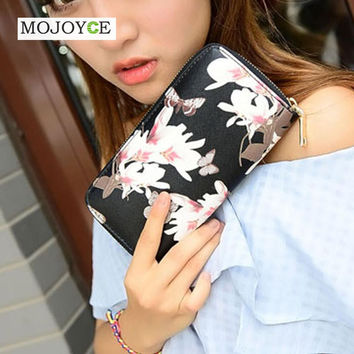 MOJOYCE Leather Wallet For Women 4 Colors Floral Printing Wallet Long Lady Delicate Clutch Coin Purse Card Holder Carteras Mujer SN9