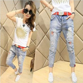 Couture fashion jeans female skull slim feet