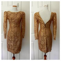 Vintage 1970's dress / 70's Ambria dress / Gold Embroidered Party Dress/ Size 4