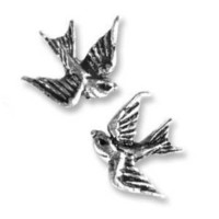 "Tattoo-style ""Swallow"" Stud Earrings"