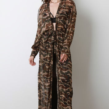 Semi-Sheer Glitter Camouflage Longline Cardigan Cover-Up | UrbanOG