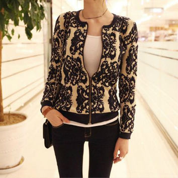 spring Autumn winter cardigans women sweater blazer cardigan blue white porcelain printed long-sleeve knitted sweaters