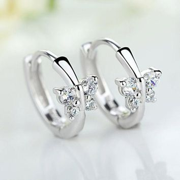 LMFON Butterfly Stylish Diamonds Silver Earrings [10427402260]