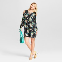 Women's Floral Print Cold Shoulder Fit & Flare Dress - Xhilaration™ Black