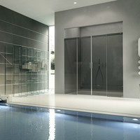 Crystal shower cabin with sliding door ACQUA 5000 Aura Collection by DUKA