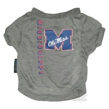 DCCKT9W Ole Miss Rebels Heather Grey Pet T-Shirt