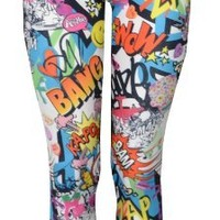 "Womens ""Bang, Wow, Zap"" Brightly Coloured Leggings (4/6 (uk 8/10))"