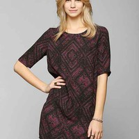 Staring At Stars Silky Half-Sleeve Frock Dress- Red Multi S