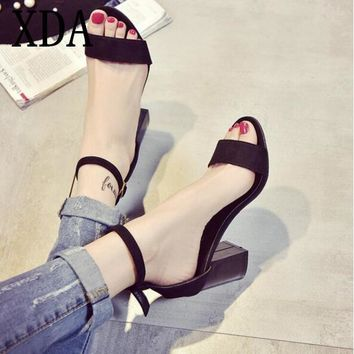 XDA 2017 new fashion Summer Think Mid Heel women Sandals Rough With The Fish Head Word