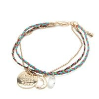 With Love From CA Thin Braid $ Charm Bracelet - Womens Jewelry - Gold - One