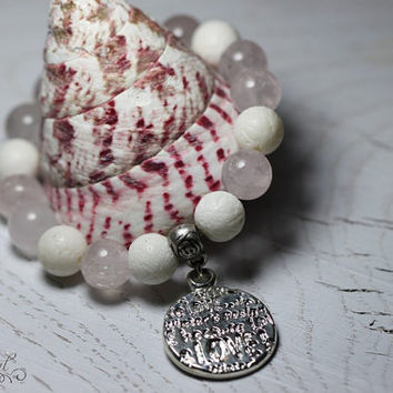 Bracelet with rose quartz, corals and coin. Quartz and corals bracelet. Gemstone bracelet.