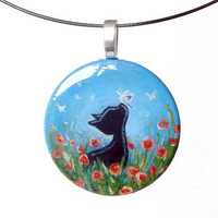 Black Cat Necklace Pendant Flowers Butterfly Hand Painted by rainbowofcrazy