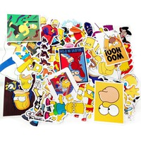 50pcs The Simpsons Stickers for Laptop Bike Phone Skateboards Luggage Car Styling DIY Decals Graffiti Decorative Toy Sticker