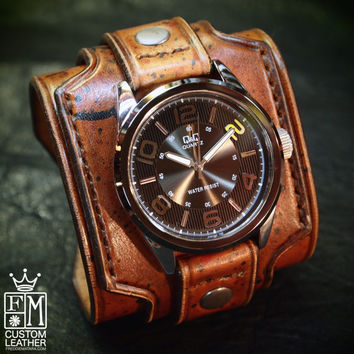Leather cuff watch Drake Uncharted style wide layered wristband Brown distressed destroyed bracelet made for YOU in NYC by Freddie Matara!