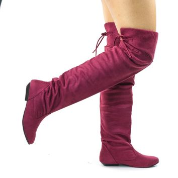 Tammy Burgundy Faux Suede by Forever, Foldable Knee High Flat Boots w Rear Lace Tie